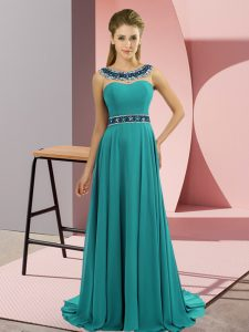 Sleeveless Beading Zipper Prom Evening Gown with Teal Brush Train