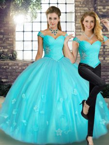 Fashionable Aqua Blue Tulle Lace Up Quinceanera Dress Sleeveless Floor Length Beading and Appliques