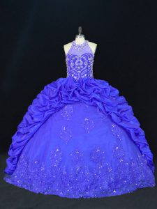 Most Popular Royal Blue Ball Gowns Halter Top Sleeveless Taffeta Floor Length Lace Up Beading and Appliques and Embroidery and Pick Ups Ball Gown Prom Dress