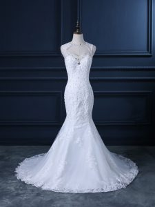Hot Selling Sleeveless Brush Train Beading and Lace Backless Bridal Gown