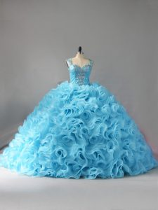 Inexpensive Fabric With Rolling Flowers Sleeveless Sweet 16 Dress Court Train and Beading and Ruffles
