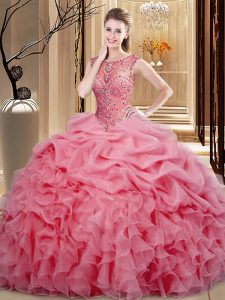 Fashionable Pink Sleeveless Organza Lace Up Sweet 16 Dress for Sweet 16 and Quinceanera