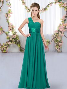 Dynamic Floor Length Lace Up Quinceanera Dama Dress Peacock Green for Wedding Party with Belt