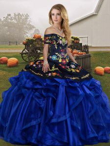 Sweet Blue And Black Sleeveless Floor Length Embroidery and Ruffles Lace Up Sweet 16 Dresses