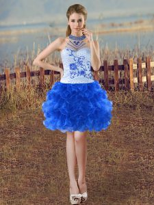Admirable Organza Sleeveless Mini Length Hoco Dress and Beading and Embroidery and Ruffles