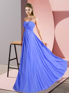 Blue Empire Ruching Prom Dresses Lace Up Chiffon Sleeveless Floor Length