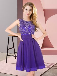 Spectacular Chiffon Sleeveless Mini Length Dama Dress and Beading and Appliques