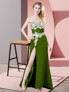 Glittering Sleeveless Floor Length Lace and Appliques Zipper Homecoming Dress with Olive Green