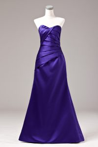 Fantastic Satin Sleeveless Floor Length and Ruching