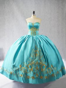 New Arrival Sweetheart Sleeveless Quinceanera Gowns Floor Length Embroidery Aqua Blue Satin