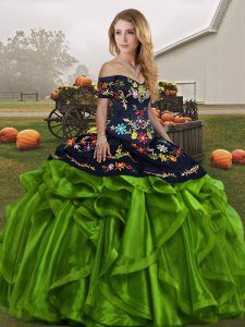 Beautiful Embroidery and Ruffles Sweet 16 Quinceanera Dress Green Lace Up Sleeveless Floor Length
