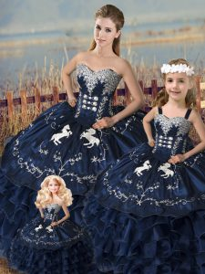 Glorious Sleeveless Floor Length Embroidery and Ruffles Lace Up Ball Gown Prom Dress with Navy Blue