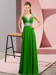 Hot Sale Green Empire Beading Celebrity Dress Lace Up Chiffon Sleeveless Floor Length
