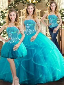 Wonderful Aqua Blue Ball Gowns Tulle Strapless Sleeveless Beading and Ruffles Floor Length Lace Up Sweet 16 Dresses