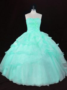 Apple Green Lace Up Ball Gown Prom Dress Ruffles and Hand Made Flower Sleeveless Floor Length