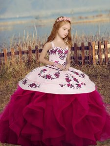 Wonderful Fuchsia Straps Lace Up Embroidery and Ruffles Kids Formal Wear Sleeveless