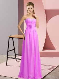 Enchanting Floor Length Lace Up Dress for Prom Lilac for Prom and Party and Military Ball with Beading