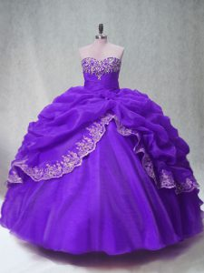 New Style Organza Sleeveless Floor Length Sweet 16 Dresses and Beading and Appliques and Pick Ups