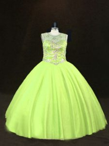 Great Beading Quinceanera Gown Yellow Green Lace Up Sleeveless Floor Length