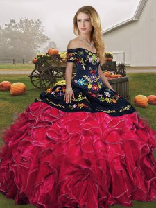 Romantic Sleeveless Floor Length Embroidery and Ruffles Lace Up Quinceanera Gowns with Red And Black