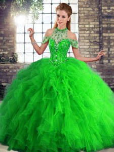 Green Halter Top Neckline Beading and Ruffles Ball Gown Prom Dress Sleeveless Lace Up