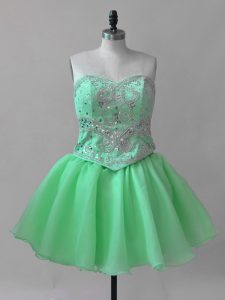Wonderful Mini Length Prom Evening Gown Sweetheart Sleeveless Lace Up