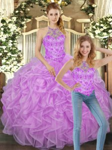 Latest Floor Length Lilac Quinceanera Dress Halter Top Sleeveless Lace Up