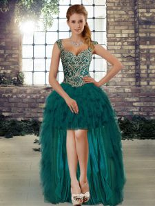Superior Dark Green Organza Lace Up Straps Sleeveless High Low Prom Dresses Beading and Ruffles