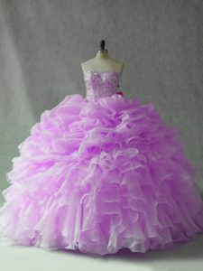 Lilac Organza Lace Up Sweet 16 Quinceanera Dress Sleeveless Brush Train Beading and Ruffles and Pick Ups