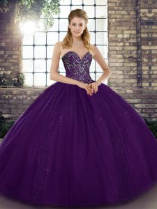Fabulous Sweetheart Sleeveless 15th Birthday Dress Floor Length Beading Purple Tulle