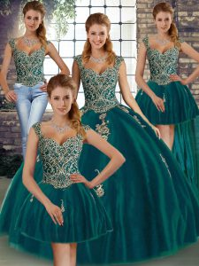 Clearance Floor Length Peacock Green Quince Ball Gowns Straps Sleeveless Lace Up