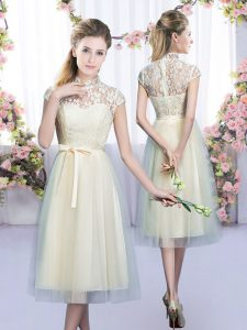 Inexpensive Tea Length Empire Cap Sleeves Champagne Court Dresses for Sweet 16 Zipper