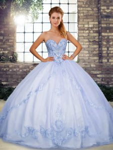 Lavender Lace Up Sweet 16 Quinceanera Dress Beading and Embroidery Sleeveless Floor Length