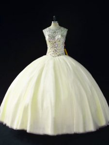 New Style Light Yellow Lace Up Quinceanera Gown Beading Sleeveless Floor Length