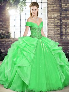 Green Sleeveless Floor Length Beading and Ruffles Lace Up Quinceanera Gown