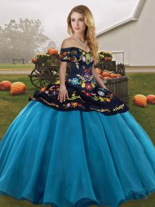 Blue And Black Sleeveless Floor Length Embroidery Lace Up 15 Quinceanera Dress