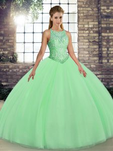 Spectacular Sleeveless Lace Up Floor Length Embroidery 15 Quinceanera Dress