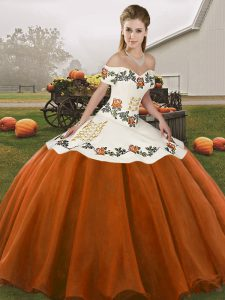 Best Selling Rust Red Organza Lace Up 15 Quinceanera Dress Sleeveless Floor Length Embroidery