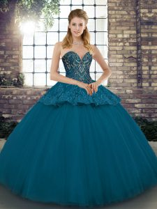 Blue Tulle Lace Up Quinceanera Dress Sleeveless Floor Length Beading and Appliques
