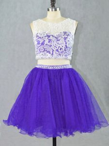 Captivating Mini Length Two Pieces Sleeveless Purple Homecoming Gowns Zipper