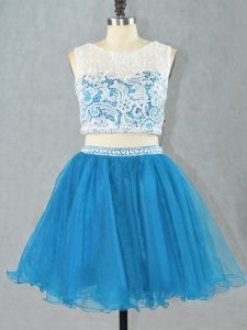 Wonderful Sleeveless Organza Mini Length Zipper Prom Gown in Blue with Lace