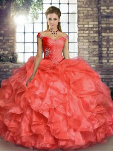 Coral Red 15 Quinceanera Dress Military Ball and Sweet 16 and Quinceanera with Beading and Ruffles Off The Shoulder Sleeveless Lace Up