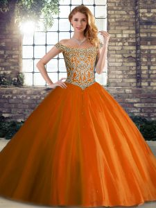 Tulle Off The Shoulder Sleeveless Brush Train Lace Up Beading Vestidos de Quinceanera in Orange Red