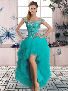 Sexy Tulle Off The Shoulder Sleeveless Lace Up Beading and Ruffles Prom Gown in Turquoise