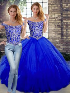 Off The Shoulder Sleeveless Tulle 15th Birthday Dress Beading and Ruffles Lace Up