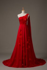Classical Red Sleeveless Watteau Train Hand Made Flower Homecoming Dress