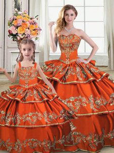 Elegant Orange Ball Gowns Straps Sleeveless Satin and Organza Floor Length Lace Up Embroidery and Ruffled Layers 15 Quinceanera Dress
