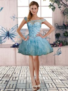 Noble Light Blue Off The Shoulder Neckline Beading and Ruffles Prom Dresses Sleeveless Lace Up