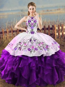 Superior Ball Gowns Quinceanera Gowns White And Purple Halter Top Organza Sleeveless Floor Length Lace Up