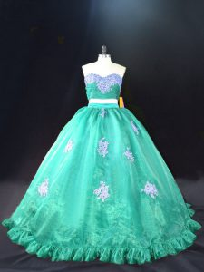 Turquoise Sweetheart Zipper Appliques Quinceanera Gown Sleeveless